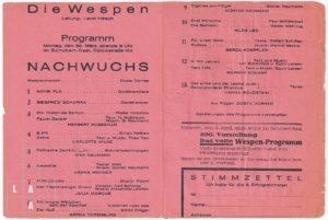 """Programmblatt des Berliner Kabaretts """"Die Wespen"""" vom 30. März 1931, aufgeklappt"""