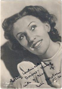 Autogramm von Lale Andersen als Lili Marleen 1946
